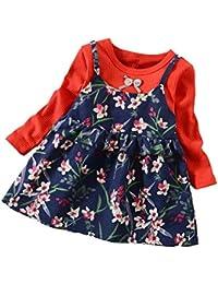 06f3aeb32 LANSKIRT Ropa para niñas Recién Nacido Infantil bebé Otoño e Invierno Vestido  Estampado de Flores del Arco Princesa Vestido de Manga…