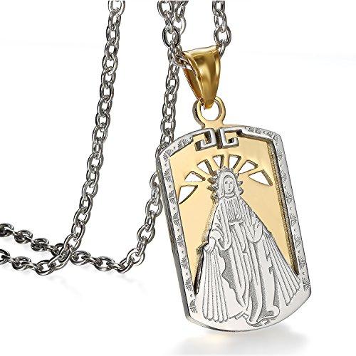 JewelryWe Schmuck Herren Anhänger Halskette Edelstahl Jungfrau Maria Mary Wundersame Dog Tag Religiöse Amulett Anhänger mit 55cm Kette Gold Silber