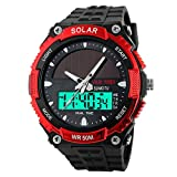TUJHGF Herrenuhr Solar Wasserdichte Outdoor Sport Student Watch,Red