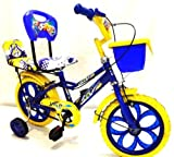#7: Loop Kids 14 Inches Blue Yellow Bike For 3-5 Years Unisex With Side Wheels