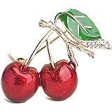SODIAL Broche de Diamantes de Imitacion de Cereza Doble de Moda Joya Insignia de Hoja Verde Fruta Cerise de Rama Broche roset