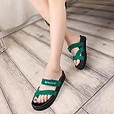 KAI-spesso fondo scarpetta zuccherino infradito col tacco sandali croce spesse.,green,37