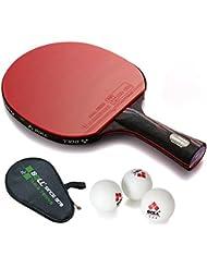 Opuman palo largo de tenis de mesa - Nanocarbono PingPong raqueta con caja libre y 3 bolas
