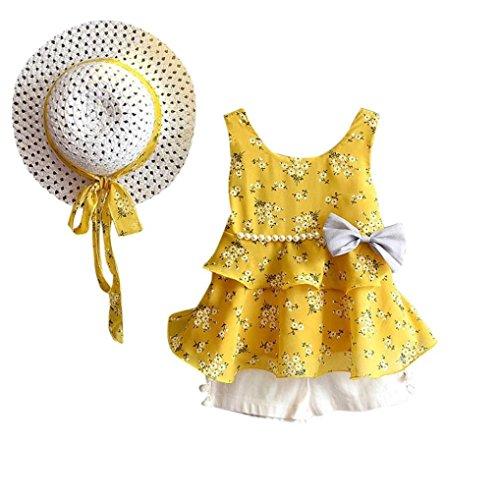 Stück Kleinkind Baby T-Shirt+Shorts Kurze Hosen +Sonnenhut Kind Mädchen Outfits Kleider Blumen Weste Sommerkleidung Chiffon Strampler Spielanzug (90, Gelb) ()