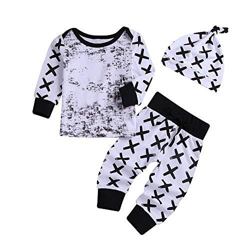 cinnamou Infant Baby Print Pullover Tops + Hosen Hosen + Hut Outfits Set, Mädchen Jungen Unisex Weihnachten Kleidung Set