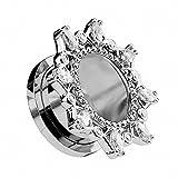 Piercingfaktor® Flesh Tunnel Plug Ohr Piercing Vintage Tribal Motiv mit vielen Kristallen am Rand Silber 14mm