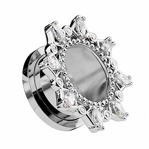 Piercingfaktor Flesh Tunnel Ohr Piercing Plug Ohrpiercing Vintage Tribal Motiv mit vielen Kristallen am Rand Silber 8mm