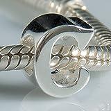 Abalorio de auténtica plata esterlina 925de letras desde la A hasta la Z letra, para brazaletes europeos