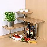 bremermann® Bambus-Eckregal, Küchenregal, Material aus Bambusholz und rostfreiem Edelstahl