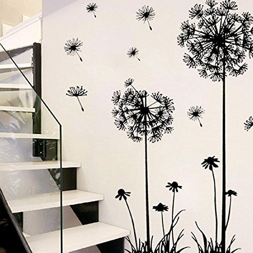 Voberry® 1 Pcs Black Creative PVC Dandelion Flower Plant Tree Large  Removable Wall Stickers Art Decals Mural Wallpaper Decor Home Room  Decoration