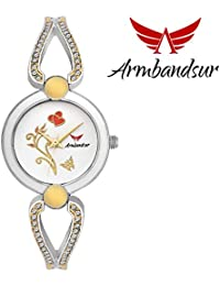 Armbandsur silver, golden & white case & dial watch-ABS0061GSW