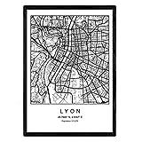 Nacnic Drucken Stadtplan Lyon nordischen Stil schwarz und