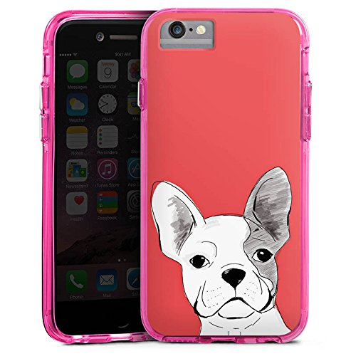 Apple iPhone 6s Plus Bumper Hülle Bumper Case Glitzer Hülle Hund Dog Chien Bumper Case transparent pink