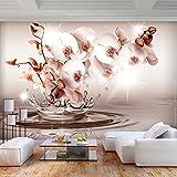 decomonkey | Fototapete Blumen 350x256 cm XL | Tapete | Wandbild | Wandbild | Bild | Fototapeten | Tapeten | Wandtapete | Wanddeko | Wandtapete | Orchidee 3d Effekt Wasser rosa