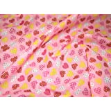 "45"" wide Printed Polycotton Dress Fabric 'Pink Dotty Hearts' - per metre"