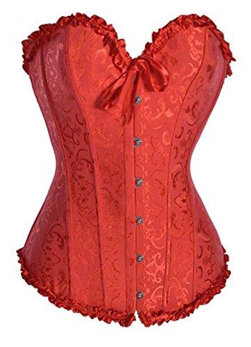 Camellias Damen Bridal Wäsche schnürt sich oben Satin ohne Knochen Waist Cincher Korsett mit G-Schnur Rot,UK-SZ1070-Red-L (Burlesque Kostüme Red)