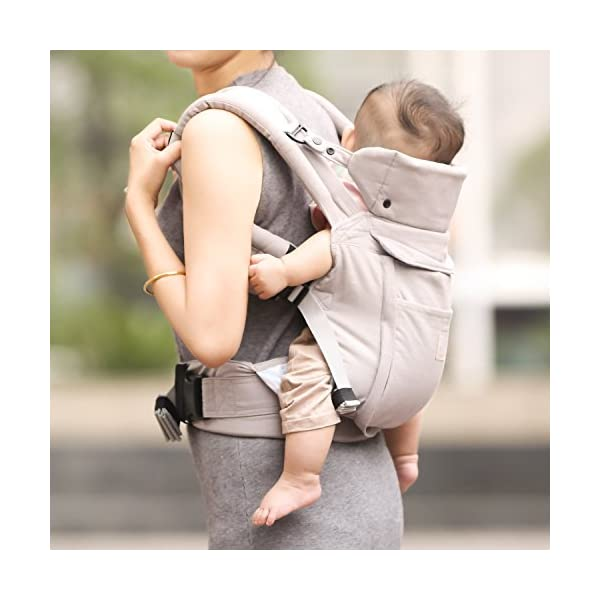 """GAGAKU Ergonomic Baby Carrier Soft Cotton Front and Back - Child Carrier with Detachable Hood for All Seasons (5-48 Months) GAGAKU Ergonomic 34 cm (13.5 inches ) wide seat provides proper support of baby's legs, hips and spine, and support your baby in natural """" M """" Position baby to toddler; Adjustable neck support secure and proper placement of baby's head and neck; Extra-padded shoulder strap and wide waist belt ensure stability and pressure reduction; 7"""