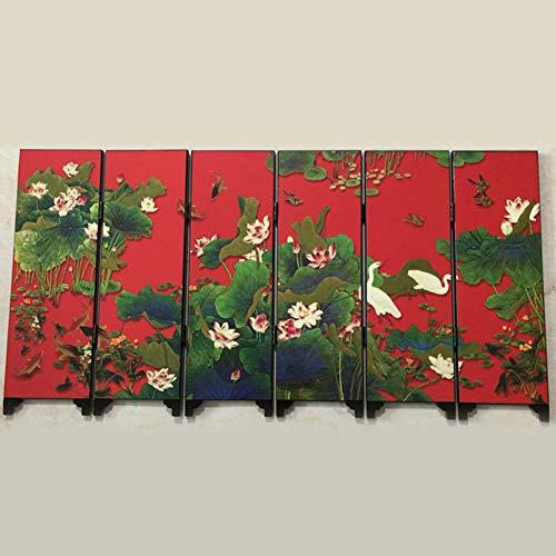 ANAN Mini Faltwand Bildschirm Partition Holz chinesischen Retro-Muster Geschenk 48 * 24 * 0,6 cm 6 Stück,Schwarz -