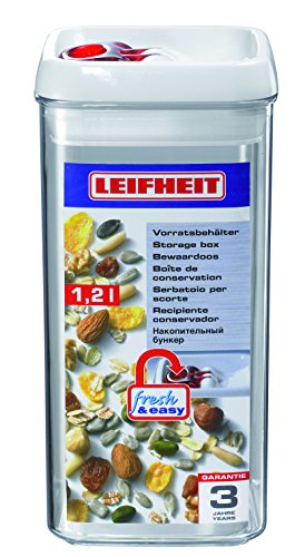 Leifheit 31210 Fresh and Easy - Recipiente hermético cuadrado de 1,2 l