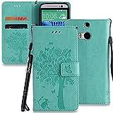 Schutzhülle für HTC One M8 Grün,Slynmax Katze Blume Baum Hülle Wallet Case Handyhülle für HTC One M8 Tasche [ Tasche Klapphülle Flip Cover Lederhülle Stand Kartenfächer (Katze Schmetterling)