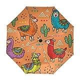 Paraguas Infantiles Color Naranja Con Lamas De Colores y Cactus