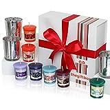 Lussuoso set regalo candela profumata dalla scatola regalo. Comprende 8diversi splendidamente candele profumate e 3portacandele in vetro metallizzato (Sungaze)