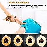 Wake Up luce sveglia, nehome LED luce sveglia Alba simulazione luce del giorno tramonto Fading luce notturna, Sveglia con radio FM e funzione Snooze