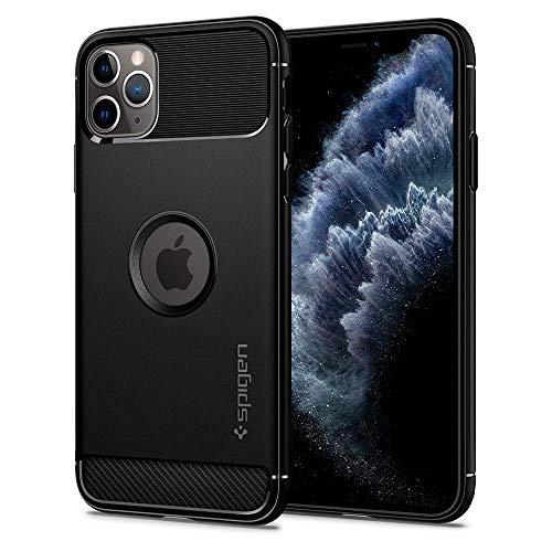Spigen Rugged Armor Funda iPhone 11 Pro con Absorción de Choque Resistente y diseño de Fibra de Carbono Compatible con Apple iPhone 11 Pro (5.8') 2019 - Black