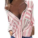 Frauen Hemd Honestyi Frauen beiläufige reizvolle V Ausschnitt Streifen Lange Hülsen Hemd Blusen Plaid Shirt Tops(Rosa,M)
