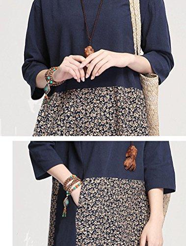 MatchLife Femmes Épissure Impression Robe Bleu Marin