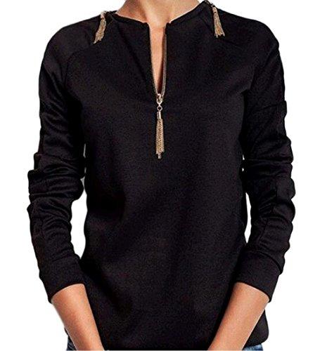 Rcool Frauen Langarm Pullover Hoodies O-Ausschnitt Bluse Kapuzenpullover  Hoodies Mode Sweatshirts Pulli Schwarz 6142991fd6