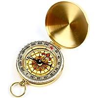 Ama-ZODE Pocket-Messing-Uhr-Art-Ring Keychain Outdoor Camping Wandern Kompass
