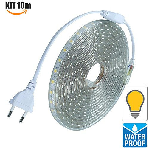 Techbox strisce led 220v 10 metri per esterni ip68 striscia bianco caldo