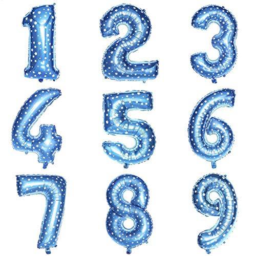 aixingwuzi 2019 Folienballons mit Zahlenmotiv, für Weihnachten, Hochzeit, Geburtstag, Party, Verrotten - Blue 7.