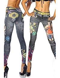 Damen Elastische Leggings lang in verschiedenen Designvarianten Leggins Hüfthose Hose Rainbow Style Aufdruck Muster Print-Jeans