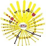 JZK Paquete de 28 Emoji slap pulsera de goma banda de emoticonos pulsera de silicona para los niños adultos fiesta favores, partido, llenador, niños, cumpleaños, regalo, partido suministra pequeños juguetes