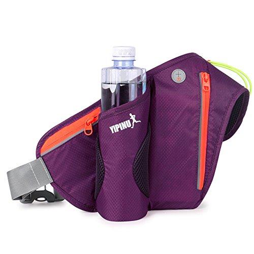 DUSISHIDAN Multifunktionale Outdoor Hüfttasche Wasserabweisende Gürteltasche Bauchtasche mit Flaschefach für Joggen Fahrradfahren Reise Laufen Lila