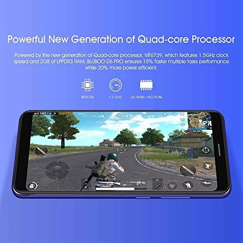 Bluboo D6 Pro 4G Dual SIM Smartphone, Android 8.1 Mobile Phones Unlocked, 2GB RAM+16GB ROM, Dual Rear Camera, Face ID & Fingerprint Unlock, 5.5 18:9 Display Screen Smart Phone (Red) Img 1 Zoom