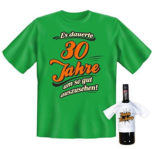 """orginelles und witziges T-shirt Set zum Thema : 30. Jahre Geburtstag Farbe: hellgrün """"Es dauerte 30 Jahre um so.."""" Hell-Grün"""