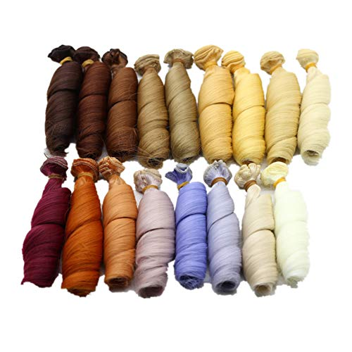 Kostüm Puppe Perücken - Fully 3stk. Puppen-Perücke Haarteil Haarperücke 15 X 100CM/5.9 X 39 Kostüm für Puppen DIY (Kopfumfang 17-22cm/6.69-8.66