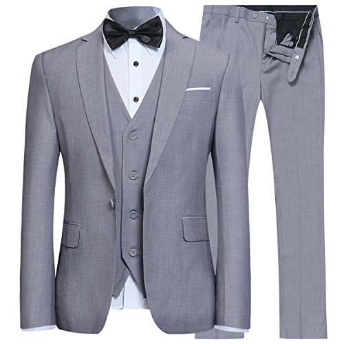 Herren Anzug Regular Fit Business Anzüge 3-Teilig Anzugjacke Anzughose Weste Grau X-Large