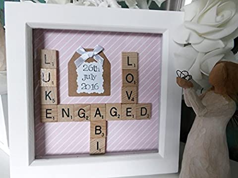 Wedding Engagement Scrabble Frame 6x6 Inch Box Frame. Any Names Date Words Personalised Family frame wall art, personalised Anniversary gift, scrabble tiles, handmade gift, home