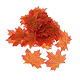Pack of 100Pcs Artificial Fall Autumn Maple Leaf Silk Leaves Wedding Garden Decorations 7 Colors Choice - Orange, As Described