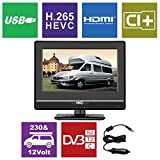 HKC 13M4 13.3 inch (33.68 cm) LCD Fernseher (FHD, IPS Panel, Triple Tuner, DVB-T2/S2/T/S/C, CI+, H.265/HEVC. 230V/12V, 12 Volt Vehicle Charger Included, USB2.0, PVR/Timeshift Ready)