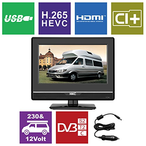 fernseher 12 zoll HKC 13M4 13.3 inch (33.68 cm) LCD Fernseher (FHD, IPS Panel, Triple Tuner, DVB-T2/S2/T/S/C, CI+, H.265/HEVC. 230V/12V, 12 Volt Vehicle Charger Included, USB2.0, PVR/Timeshift Ready)