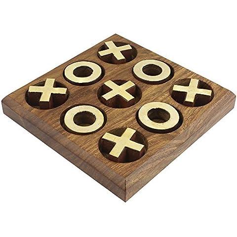 In ottone a mano e legno tic tac toe gioco per i bambini - tris gioco -11.4 x 11.4 x 2 cm - Deck Box Piazza