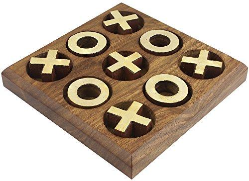 handgefertigt aus Messing und Holz Tic Tac Toe-Spiel für Kinder - Nullen und Kreuze Spiel -11,4 x 11,4 x 2 cm