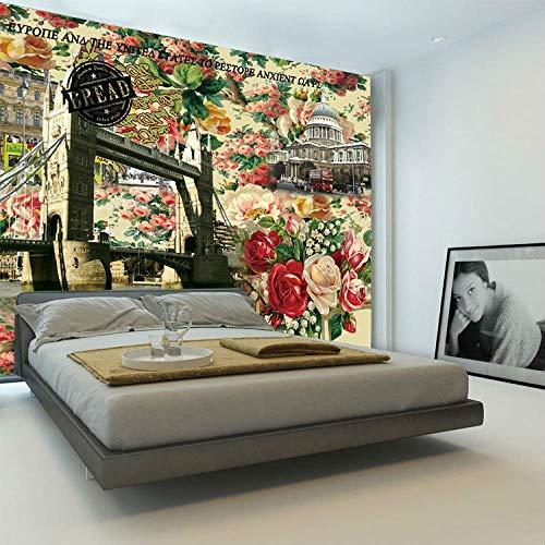 Murali autoadesivi 3d wall art (w) 350x (h) 256 cm vintage europeo carta da parati rosa foto di architettura carta da parati camera dei bambini arc de triomphe camera da letto soggiorno sfondo