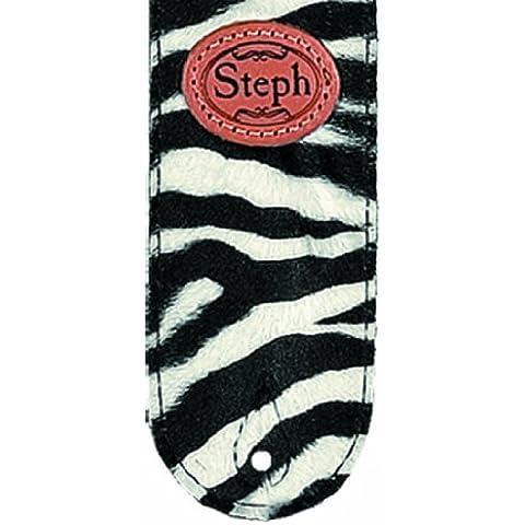 Steph 6 cm Diseño de tela correa para guitarra con parte superior trasera de piel para rueda Jockey - de piel de cebra
