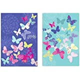 Tallon 2016 Pocket Butterfly Silhouettes Small Diary - Week to View